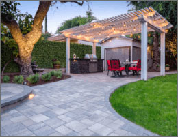 Patio Pavers With Modern BBQ Island and Lattice Pergola