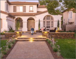 Front Yard Paver Patio With Water Feature and Seating