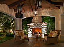 Outdoor Fireplace Lighting Design