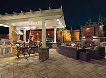 Patio Pavers With Pergola BBQ Island And Outdoor Lighting