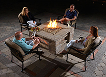 outdoor paver firepit night