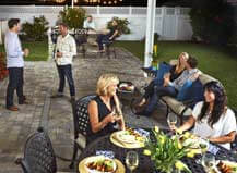Dinner Party On Beautiful Paver Patio