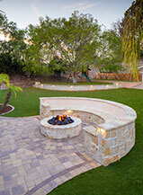 Natural Tone Paver Fire Pit Patio In A Custom Pattern
