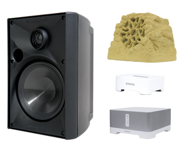 Outdoor speakers from system pavers