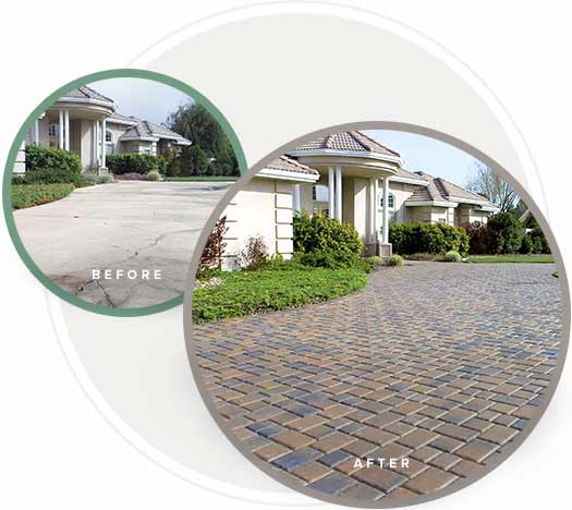 Before and after paving stone installations
