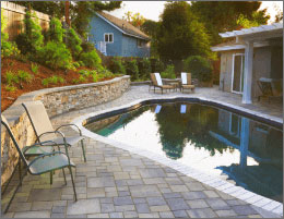 Pool Pavers With Wall And Landscape Design