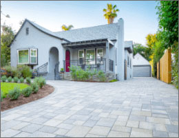 Grey Paver Driveway And Front Yard Patio Design