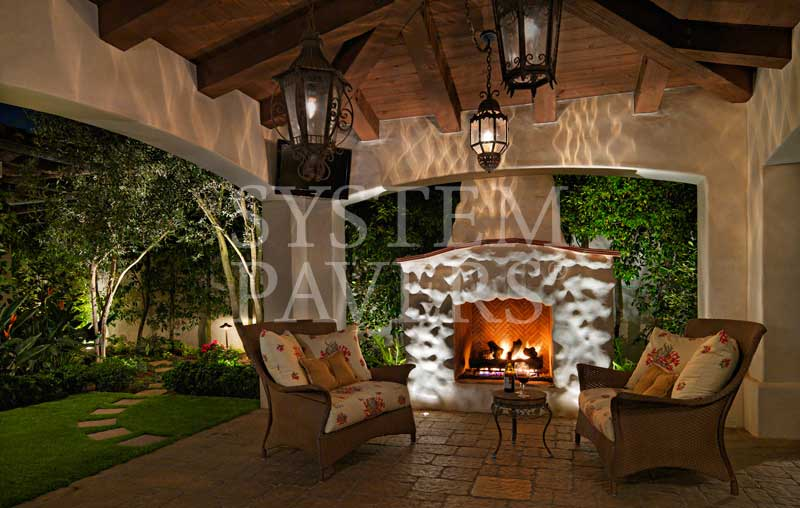 Freestanding Pergola With Fireplace