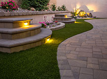 Natural Stone Steps With Landscape Lighting