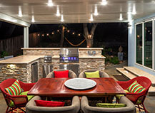 Covered Outdoor Kitchen And Dining Area