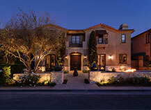 Front Yard Paver Patio And Entryway With Landscape Lighting