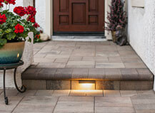 Front Entryway Pavers With Step Lighting