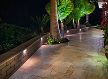 Natural Stone Sitting Wall With Landscape Lighting