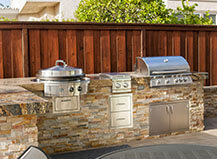 Dual-Grill Stone Facing Built In Bbq Island