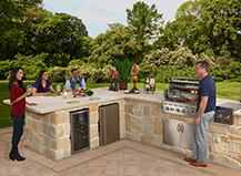 Natural Stone L Shaped Open Air Bbq Island