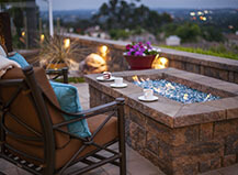 Rectangular Fire Pit With Seating Area And Accent Lighting