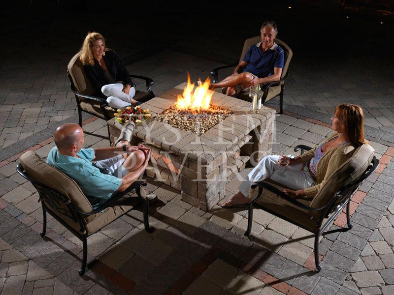 ... Outdoor Paver Firepit Night ...