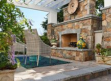 Natural Stone Large Outdoor Fireplace And Kitchen