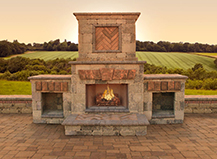 Natural Stone Outdoor Fireplace Design
