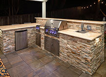 Natural Stone L-Shape Bbq Island With Bartop