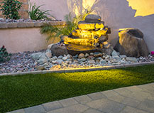Cascading Natural Stone Water Feature With Led Lighting