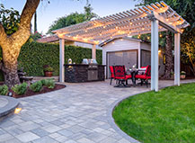 Pergola Design With Outdoor Patio And Kitchen