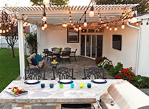 Attached Pergola With Outdoor Lighting
