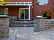 Multi-Color Stone Wall And Matching Stone Pillars
