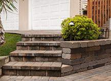 Paver Stone Steps With Landscape Retaining Wall