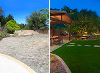 Before And After Pergola Design With Sp Turf And Lighting