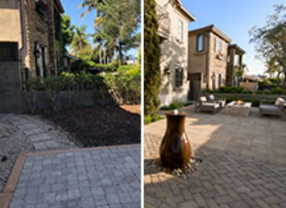 Paver Patio Before And After With Water Feature