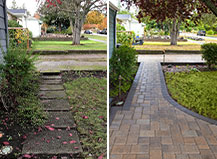 Walkway Transformation Featuring Cream And Grey Pavers