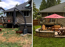 Before & After Patio Pavers And Siting Wall Design