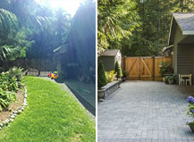 Backayard Remodel Featuring Paver Patio And Sitting Wall