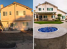 Backyard Remodel With Pavers, Fire Bowl And Artificial Grass