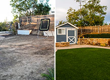 Before And After Turf Lawn With Natural Stone Wall