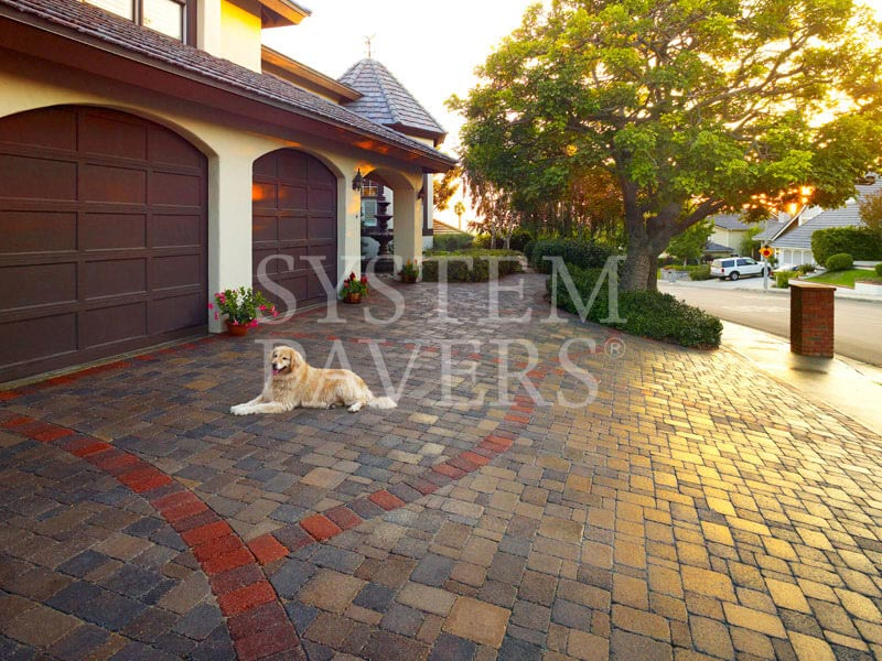 Driveway Pavers With Red Trim