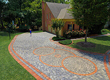 Contemporary Red And Grey Circular Driveway Pavers
