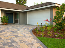 Contemporary Driveway Pavers With Walkway And Lighting