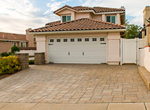Cream Colored Paving Stone Double Driveway