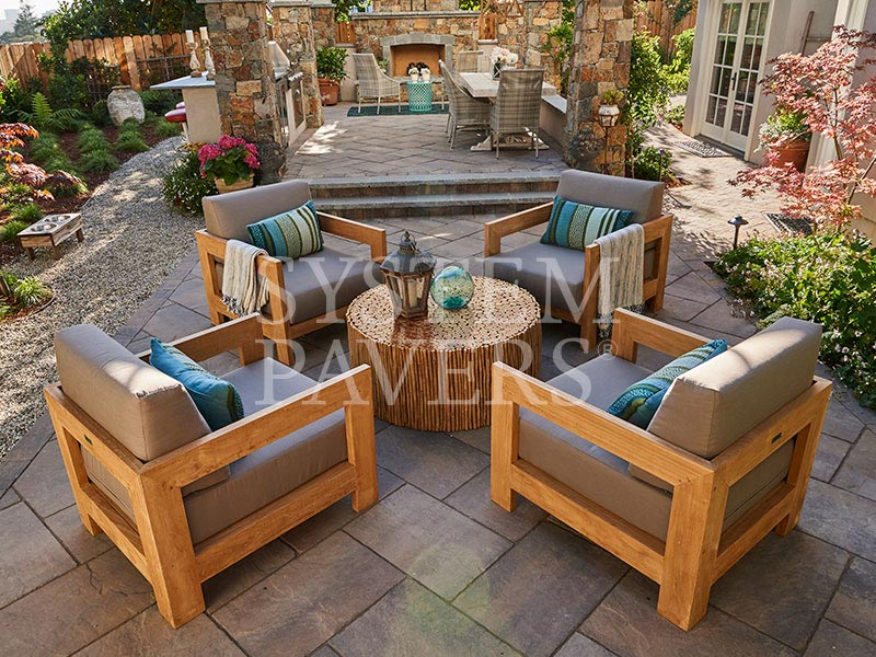 Paved Patio With Water Feature Angled Patio Pavers ...