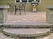 Traditional Light Colored Patio Paver Steps