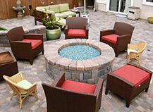 Traditional Style Patio Pavers With Circular Fire Pit