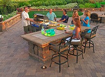 Traditional Patio Pavers With L Shaped Bbq Island