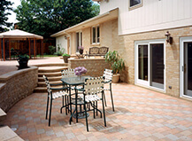 Traditional Style Patio Pavers With Built In Fireplace
