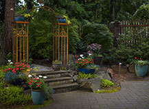 Landscaped Paver Patio With Stone Steps