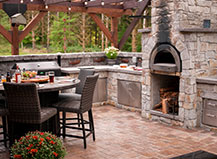 Paver Dining Patio With Outdoor Kitchen