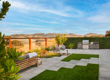 Modern Paver Patio Design With Artificial Turf