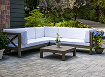 Contemporary Paver Patio With Seating Area