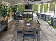 Pergola Covered Outdoor Dining And Living Room